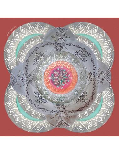Cosmic Labyrinth Marsala silk Scarf