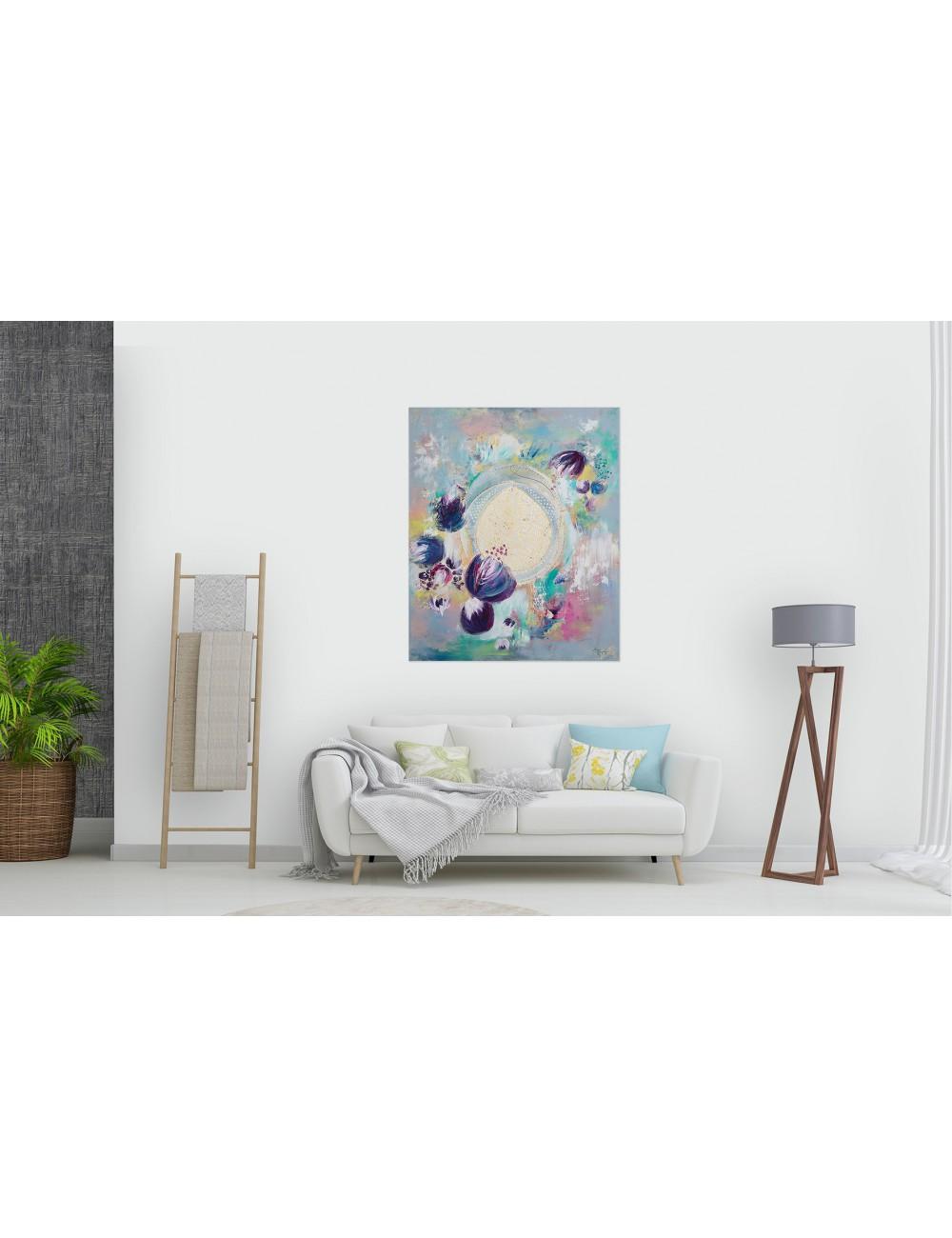 Indigo Lilies Print Canvas