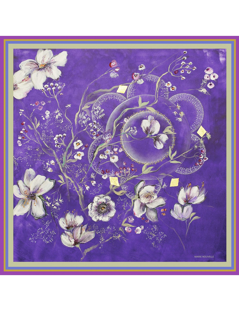 Indigo Garden silk Scarf