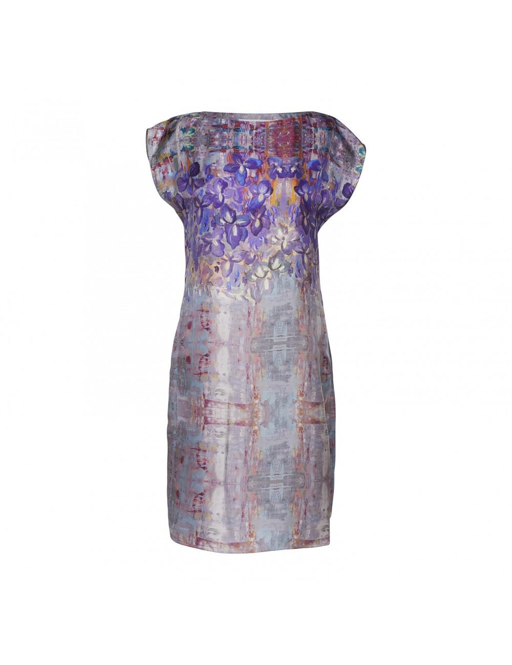 Irises silk dress