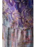 Irises elastic waist silk dress