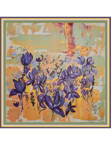 Esarfa matase Irises in the Field