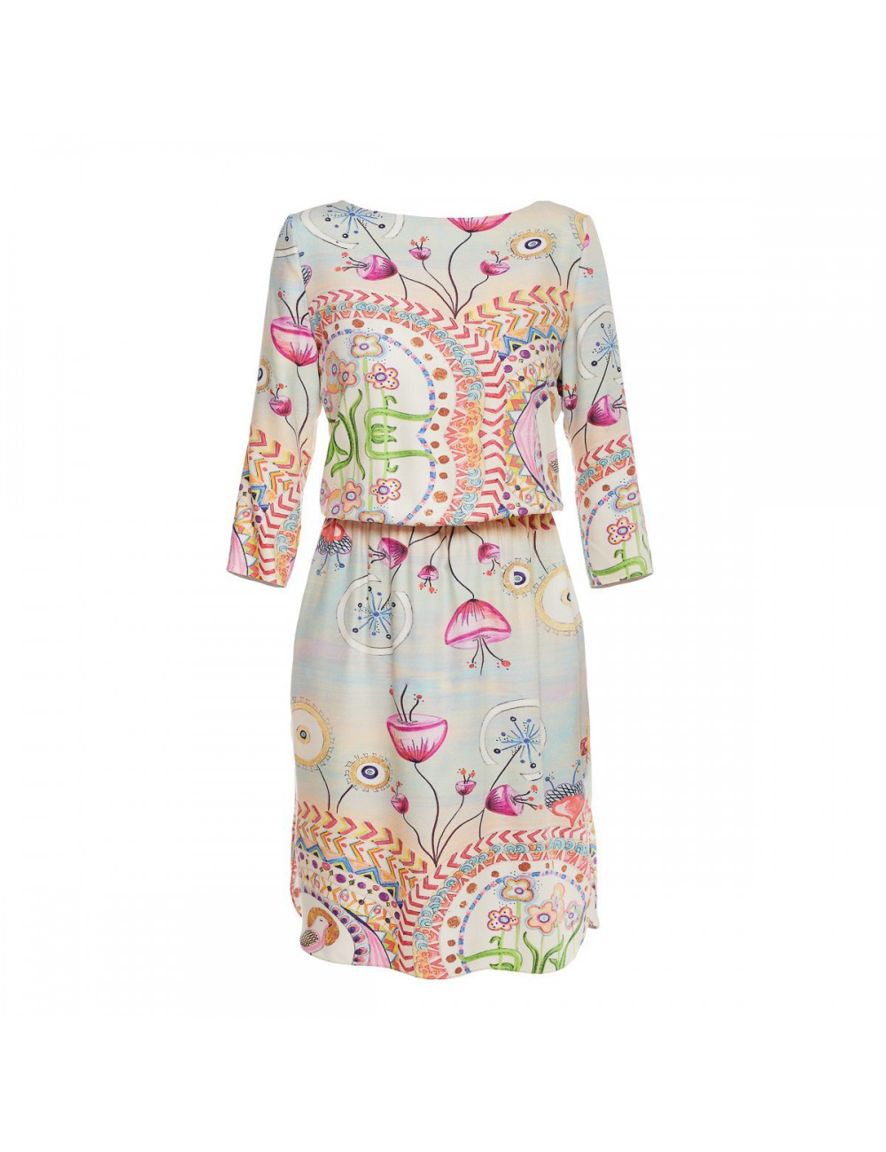 Viscose Dress Happy Hills elastic waist and sleeves
