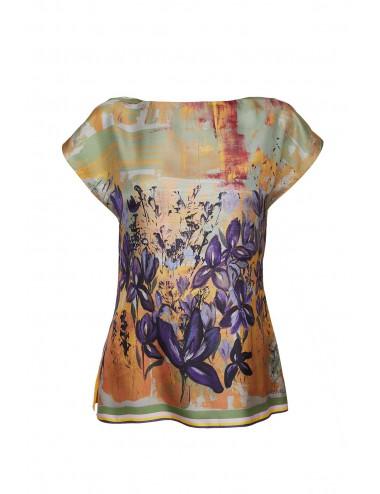 Bluza matase Irises in the Field