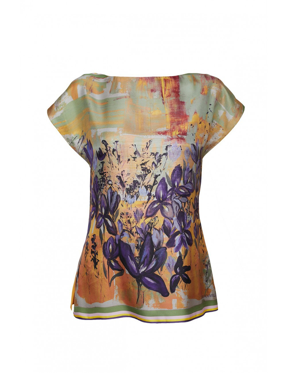 Irises in the Field silk Blouse