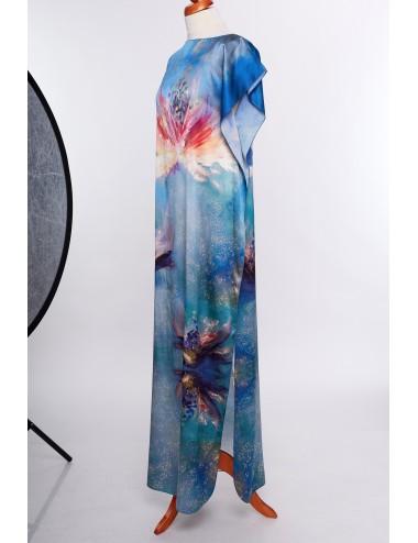 Flowers Whispers silk Kaftan Dress