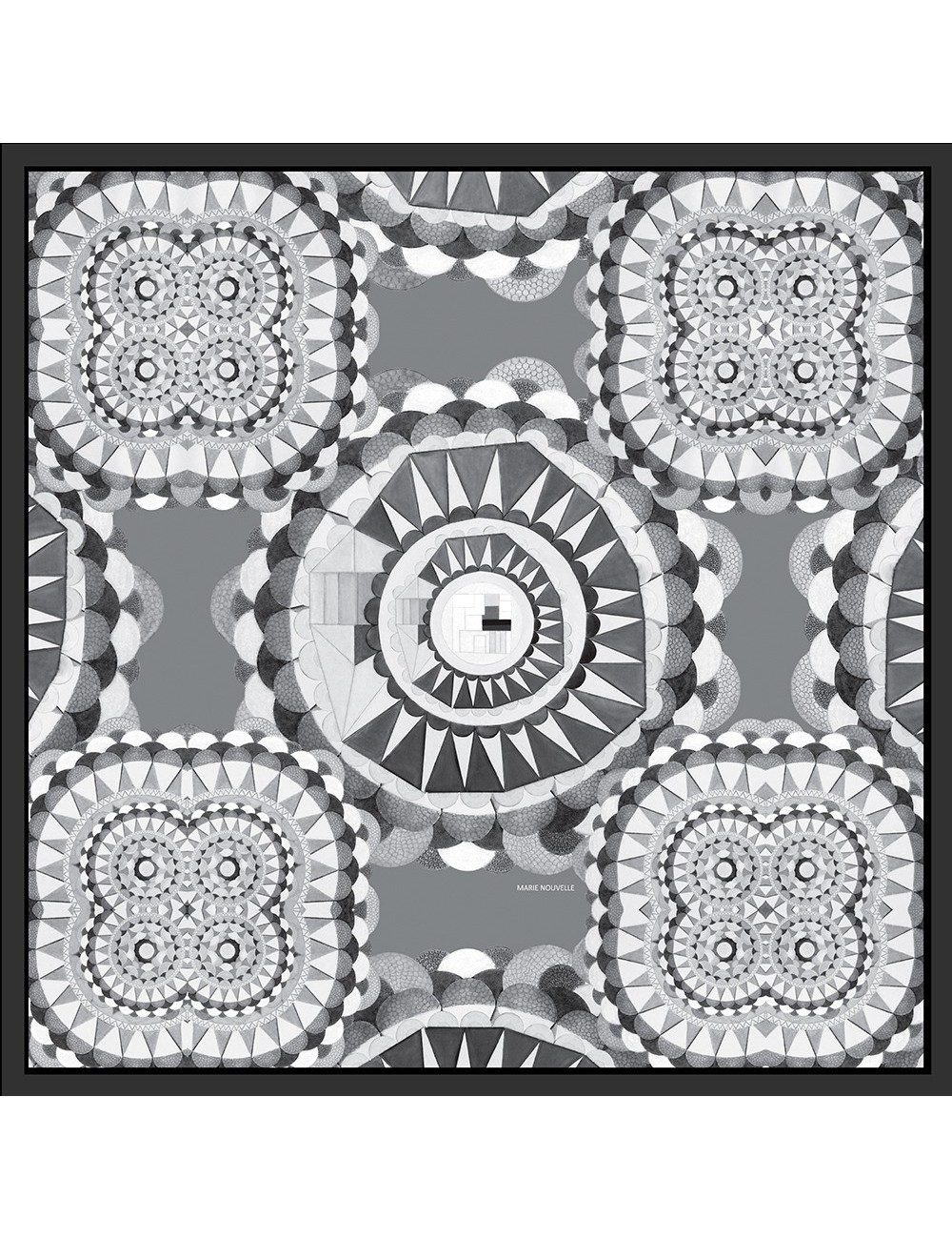 Circular Wishes Black White Silk Scarf