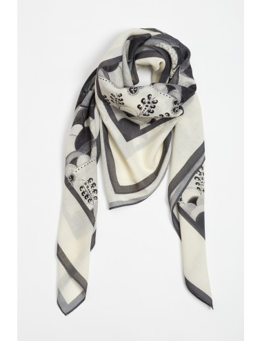 Initiation Black White Wool Scarf