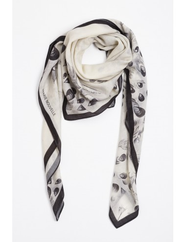 Peacock Black White Wool Scarf